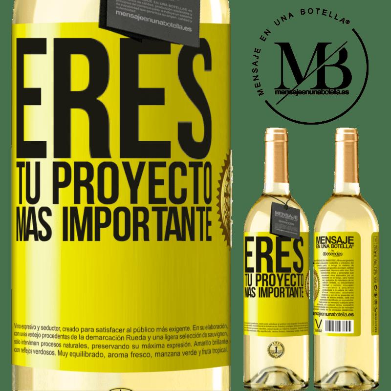 24,95 € Envoi gratuit   Vin blanc Édition WHITE Vous êtes votre projet le plus important Étiquette Jaune. Étiquette personnalisable Vin jeune Récolte 2020 Verdejo