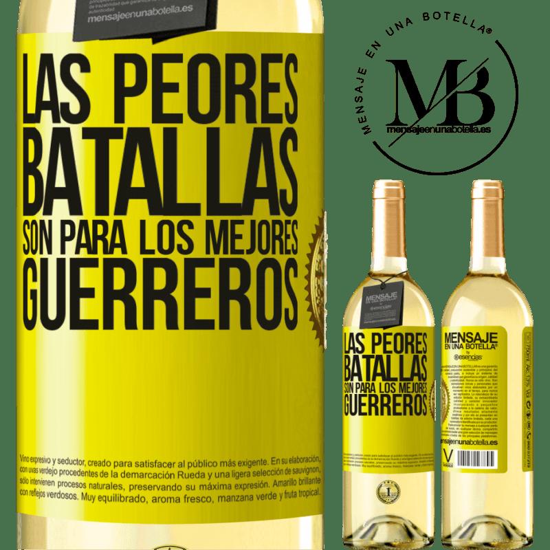 24,95 € Envío gratis | Vino Blanco Edición WHITE Las peores batallas son para los mejores guerreros Etiqueta Amarilla. Etiqueta personalizable Vino joven Cosecha 2020 Verdejo