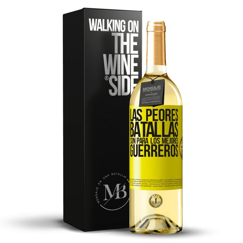 24,95 € Envoi gratuit   Vin blanc Édition WHITE Les pires batailles sont pour les meilleurs guerriers Étiquette Jaune. Étiquette personnalisable Vin jeune Récolte 2020 Verdejo