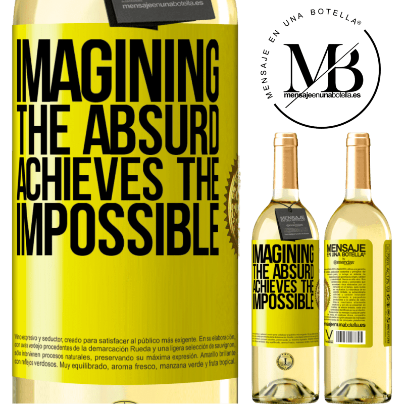 24,95 € Free Shipping   White Wine WHITE Edition Imagining the absurd achieves the impossible Yellow Label. Customizable label Young wine Harvest 2020 Verdejo