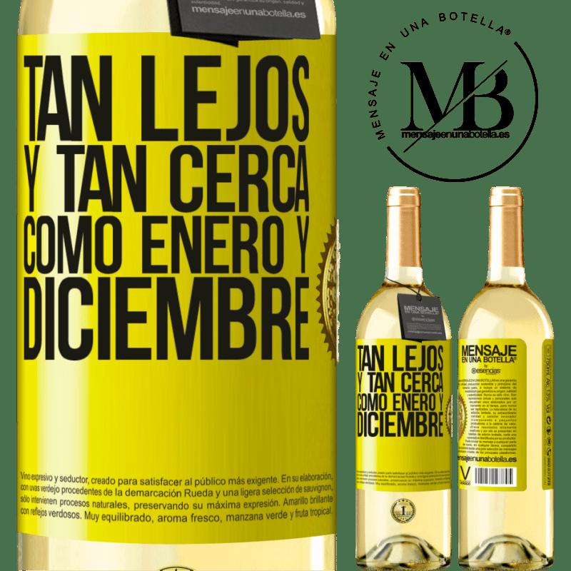 24,95 € Envío gratis   Vino Blanco Edición WHITE Tan lejos y tan cerca, como enero y diciembre Etiqueta Amarilla. Etiqueta personalizable Vino joven Cosecha 2020 Verdejo