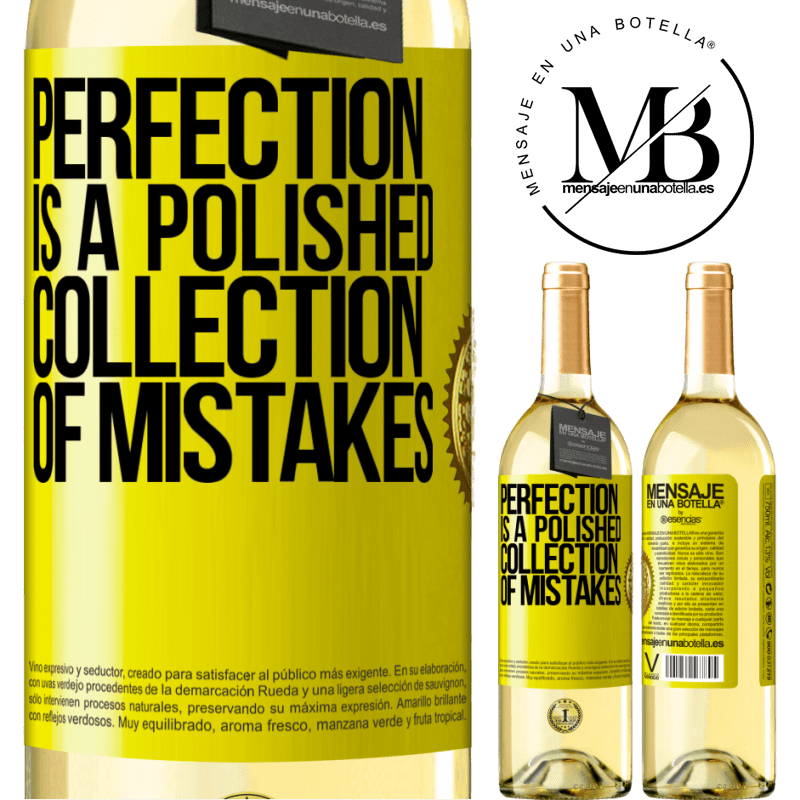 24,95 € Free Shipping | White Wine WHITE Edition Perfection is a polished collection of mistakes Yellow Label. Customizable label Young wine Harvest 2020 Verdejo