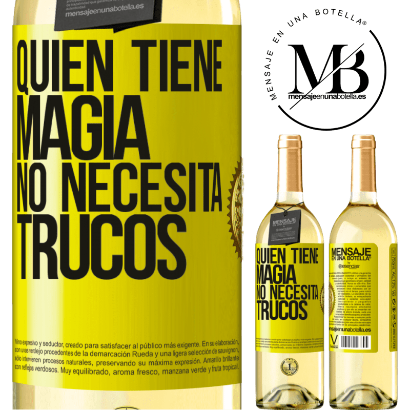 24,95 € Envoi gratuit | Vin blanc Édition WHITE Qui a de la magie n'a pas besoin de tours Étiquette Jaune. Étiquette personnalisable Vin jeune Récolte 2020 Verdejo