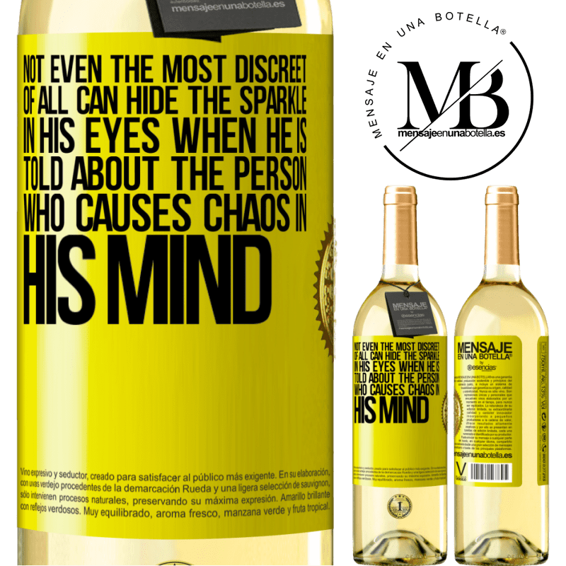 24,95 € Free Shipping | White Wine WHITE Edition Not even the most discreet of all can hide the sparkle in his eyes when he is told about the person who causes chaos in his Yellow Label. Customizable label Young wine Harvest 2020 Verdejo