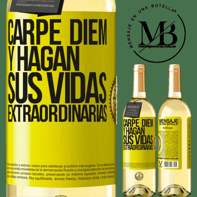 24,95 € Envío gratis | Vino Blanco Edición WHITE Carpe Diem y hagan sus vidas extraordinarias Etiqueta Amarilla. Etiqueta personalizable Vino joven Cosecha 2020 Verdejo
