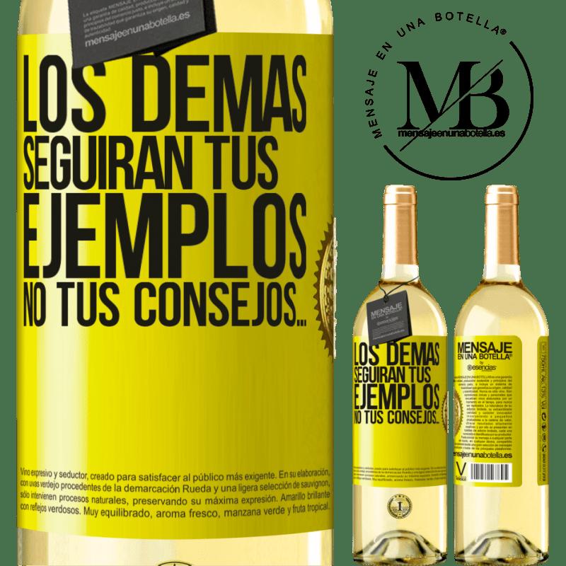 24,95 € Envío gratis   Vino Blanco Edición WHITE Los demás seguirán tus ejemplos, no tus consejos… Etiqueta Amarilla. Etiqueta personalizable Vino joven Cosecha 2020 Verdejo
