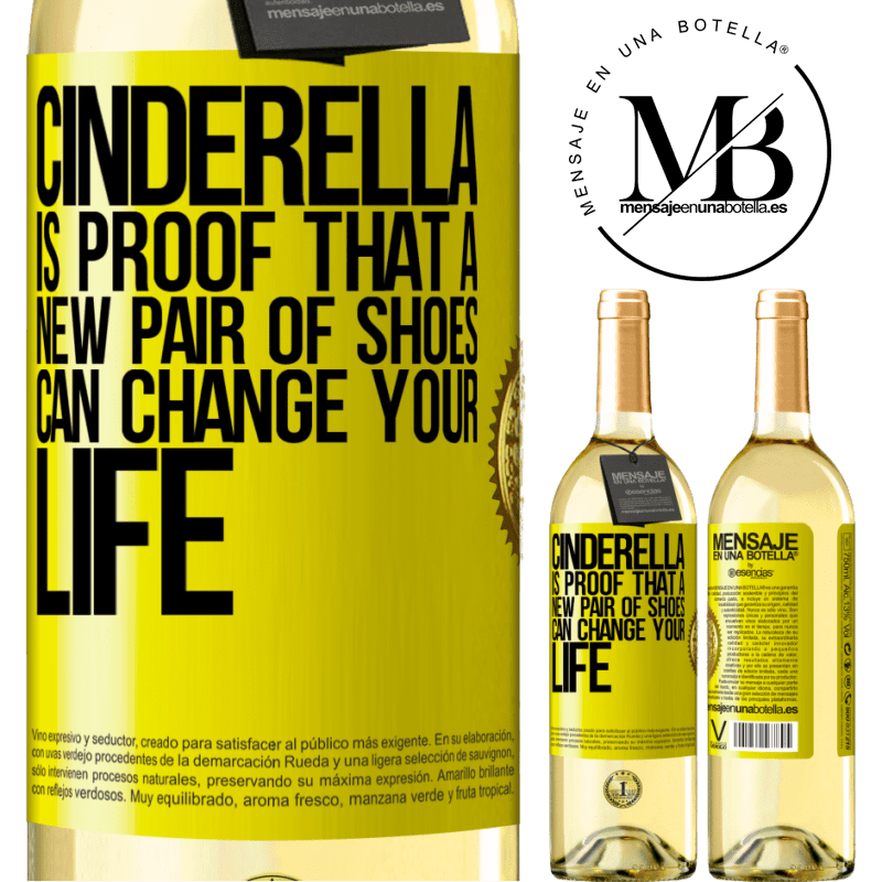 24,95 € Free Shipping | White Wine WHITE Edition Cinderella is proof that a new pair of shoes can change your life Yellow Label. Customizable label Young wine Harvest 2020 Verdejo