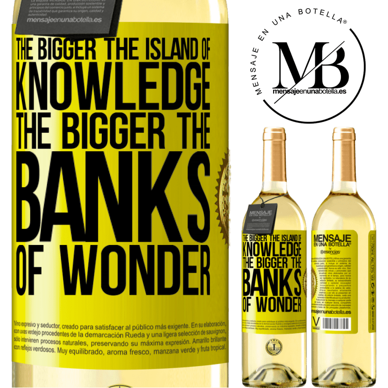 24,95 € Free Shipping | White Wine WHITE Edition The bigger the island of knowledge, the bigger the banks of wonder Yellow Label. Customizable label Young wine Harvest 2020 Verdejo