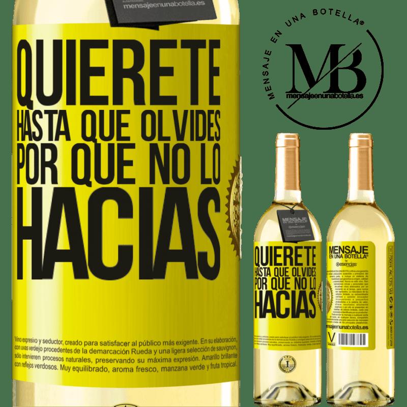 24,95 € Envío gratis   Vino Blanco Edición WHITE Quiérete, hasta que olvides por qué no lo hacías Etiqueta Amarilla. Etiqueta personalizable Vino joven Cosecha 2020 Verdejo