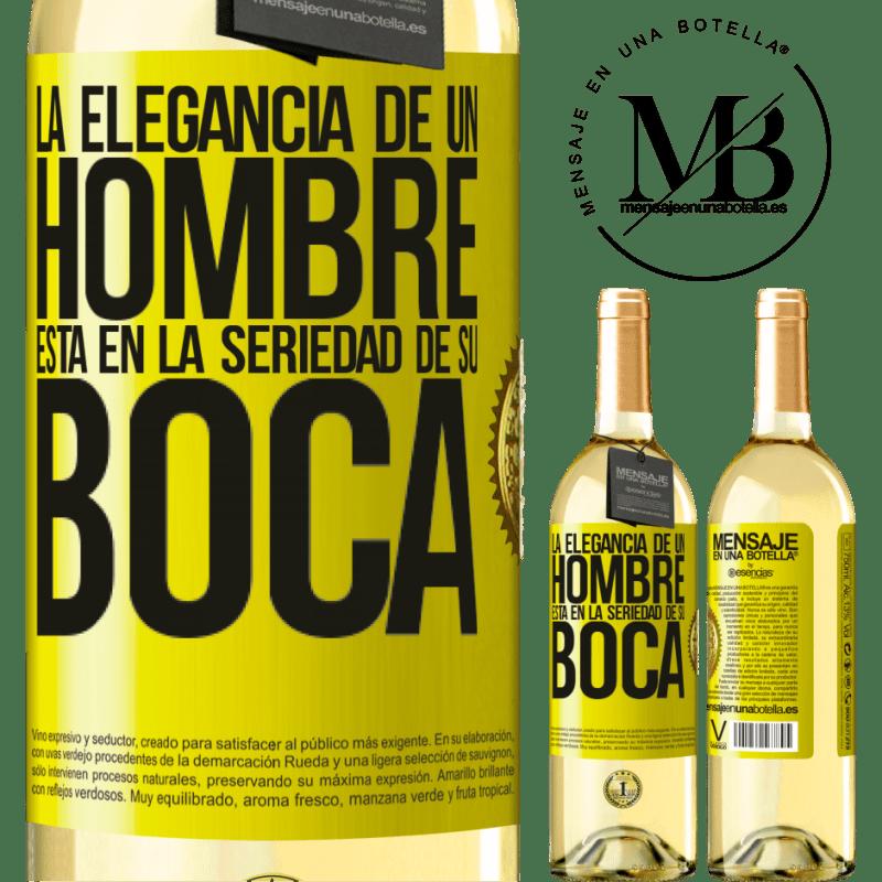 24,95 € Envío gratis | Vino Blanco Edición WHITE La elegancia de un hombre está en la seriedad de su boca Etiqueta Amarilla. Etiqueta personalizable Vino joven Cosecha 2020 Verdejo