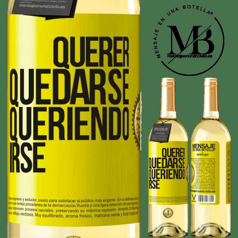 24,95 € Envío gratis | Vino Blanco Edición WHITE Querer quedarse queriendo irse Etiqueta Amarilla. Etiqueta personalizable Vino joven Cosecha 2020 Verdejo