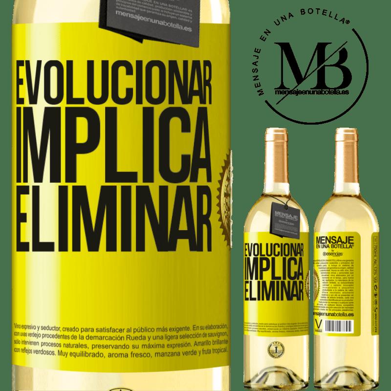 24,95 € Envoi gratuit   Vin blanc Édition WHITE Évoluer implique d'éliminer Étiquette Jaune. Étiquette personnalisable Vin jeune Récolte 2020 Verdejo
