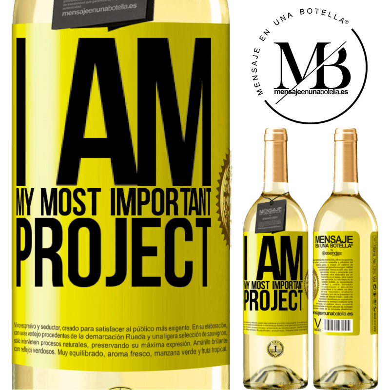 24,95 € Free Shipping | White Wine WHITE Edition I am my most important project Yellow Label. Customizable label Young wine Harvest 2020 Verdejo