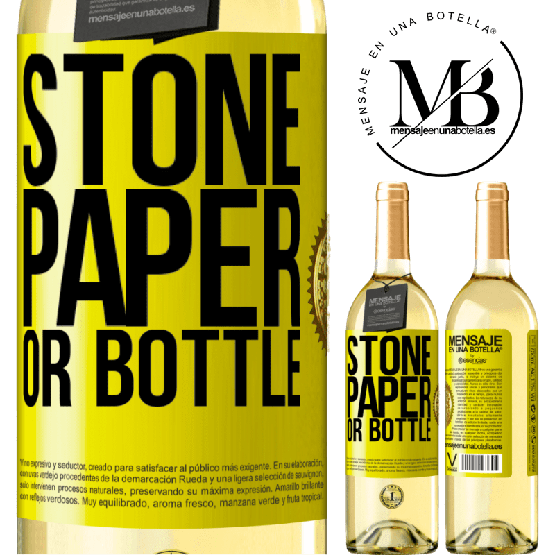 24,95 € Free Shipping | White Wine WHITE Edition Stone, paper or bottle Yellow Label. Customizable label Young wine Harvest 2020 Verdejo