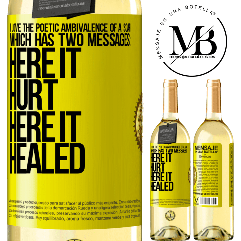 24,95 € Free Shipping | White Wine WHITE Edition I love the poetic ambivalence of a scar, which has two messages: here it hurt, here it healed Yellow Label. Customizable label Young wine Harvest 2020 Verdejo