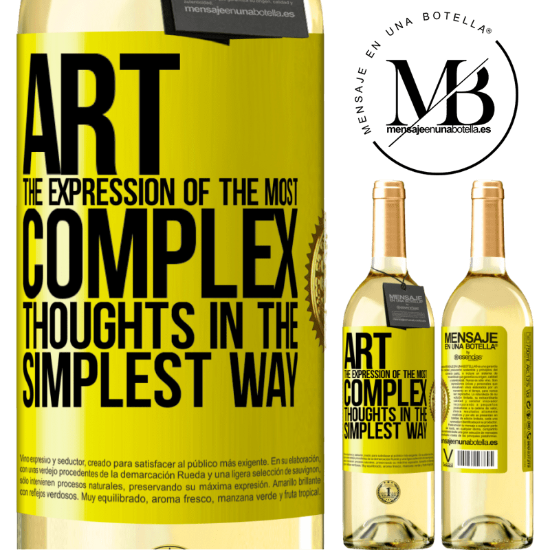 24,95 € Free Shipping | White Wine WHITE Edition ART. The expression of the most complex thoughts in the simplest way Yellow Label. Customizable label Young wine Harvest 2020 Verdejo