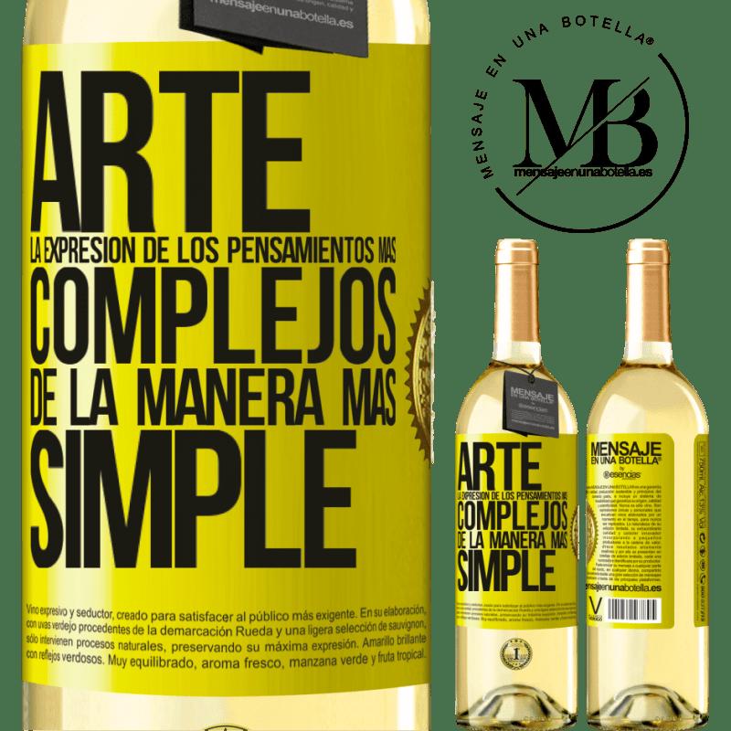 24,95 € Envoi gratuit | Vin blanc Édition WHITE ART L'expression des pensées les plus complexes de la manière la plus simple Étiquette Jaune. Étiquette personnalisable Vin jeune Récolte 2020 Verdejo