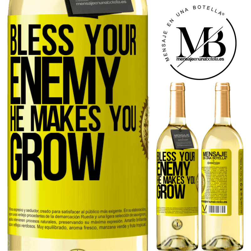 24,95 € Free Shipping | White Wine WHITE Edition Bless your enemy. He makes you grow Yellow Label. Customizable label Young wine Harvest 2020 Verdejo