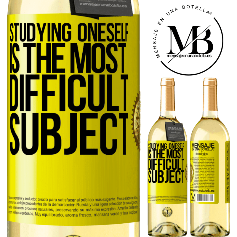 24,95 € Free Shipping | White Wine WHITE Edition Studying oneself is the most difficult subject Yellow Label. Customizable label Young wine Harvest 2020 Verdejo