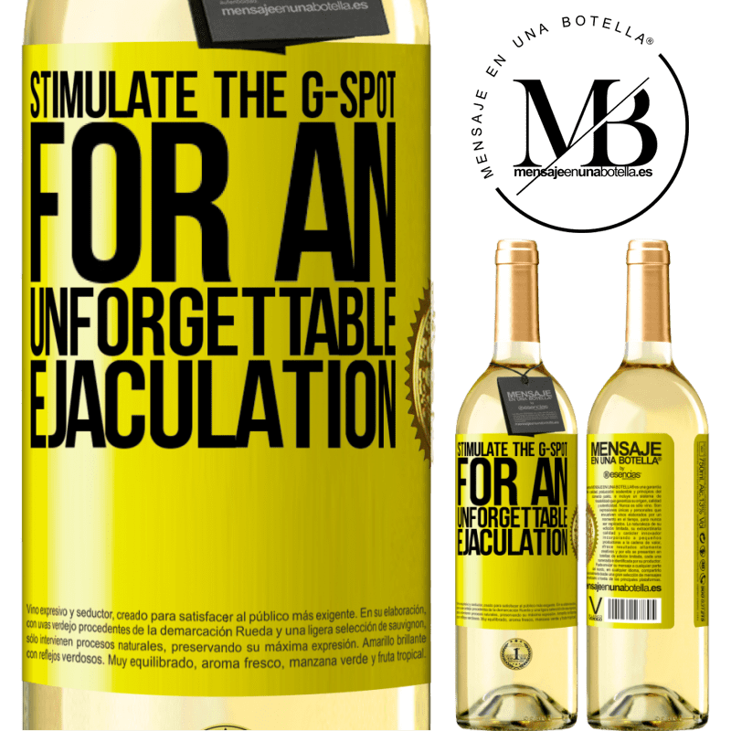 24,95 € Free Shipping | White Wine WHITE Edition Stimulate the G-spot for an unforgettable ejaculation Yellow Label. Customizable label Young wine Harvest 2020 Verdejo