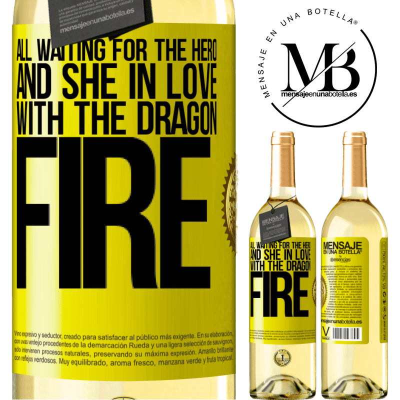24,95 € Free Shipping | White Wine WHITE Edition All waiting for the hero and she in love with the dragon fire Yellow Label. Customizable label Young wine Harvest 2020 Verdejo