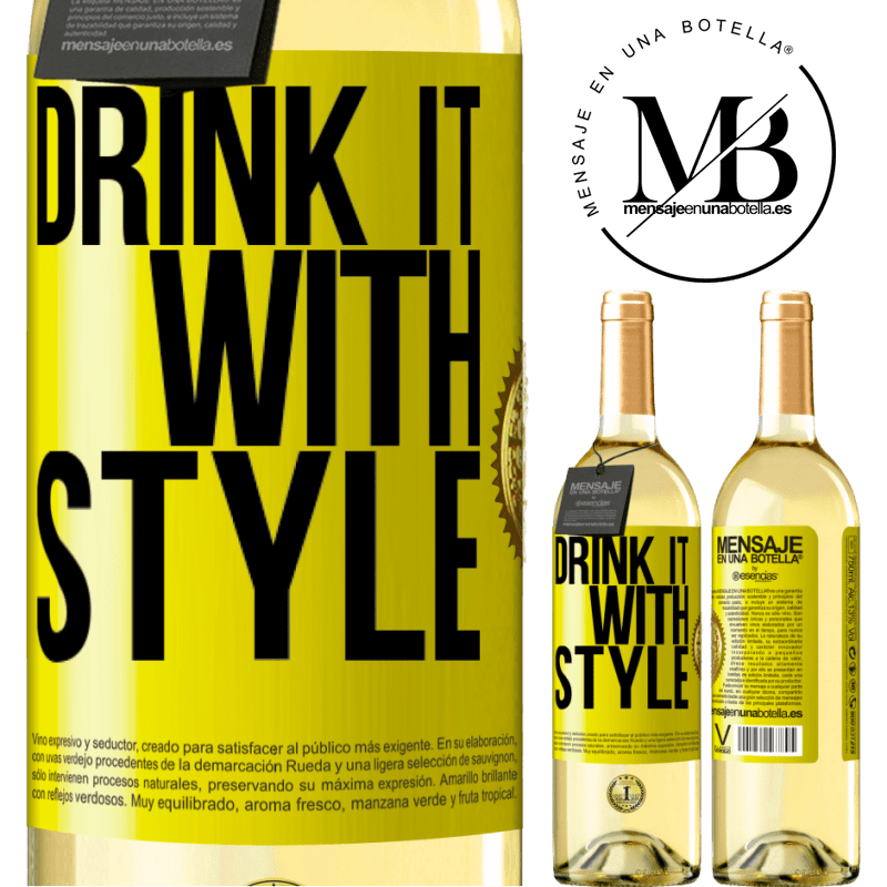 24,95 € Free Shipping | White Wine WHITE Edition Drink it with style Yellow Label. Customizable label Young wine Harvest 2020 Verdejo
