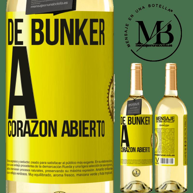 24,95 € Envío gratis | Vino Blanco Edición WHITE De búnker a corazon abierto Etiqueta Amarilla. Etiqueta personalizable Vino joven Cosecha 2020 Verdejo