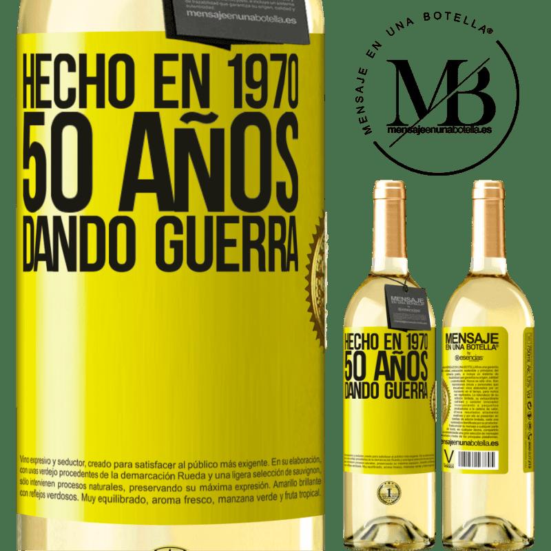 24,95 € Envío gratis   Vino Blanco Edición WHITE Hecho en 1970. 50 años dando guerra Etiqueta Amarilla. Etiqueta personalizable Vino joven Cosecha 2020 Verdejo