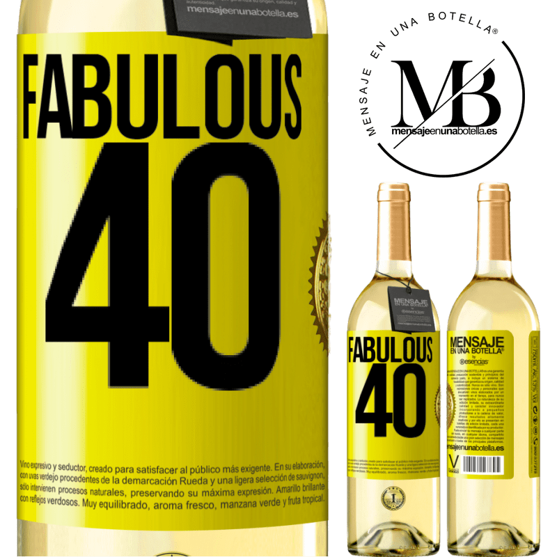24,95 € Free Shipping   White Wine WHITE Edition Fabulous 40 Yellow Label. Customizable label Young wine Harvest 2020 Verdejo