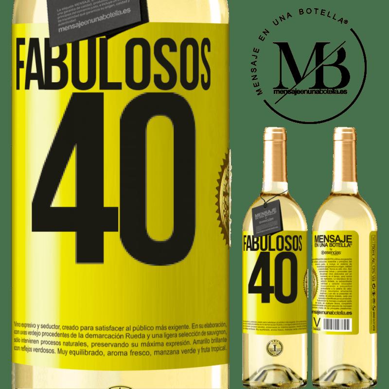 24,95 € Envío gratis | Vino Blanco Edición WHITE Fabulosos 40 Etiqueta Amarilla. Etiqueta personalizable Vino joven Cosecha 2020 Verdejo