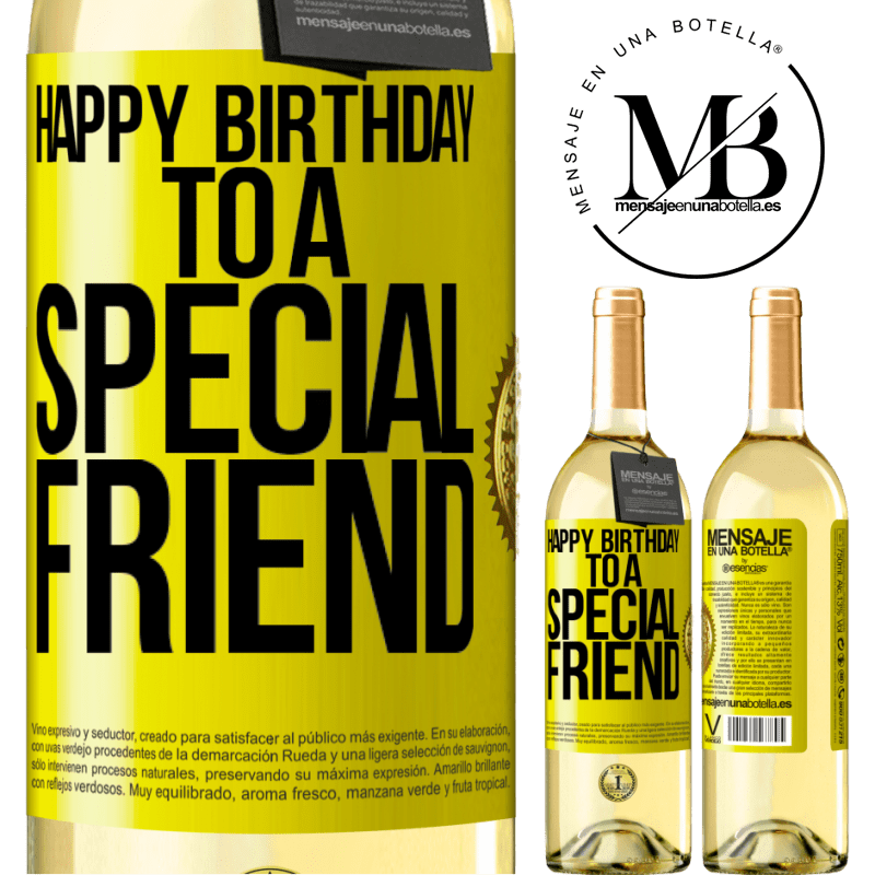 24,95 € Free Shipping   White Wine WHITE Edition Happy birthday to a special friend Yellow Label. Customizable label Young wine Harvest 2020 Verdejo