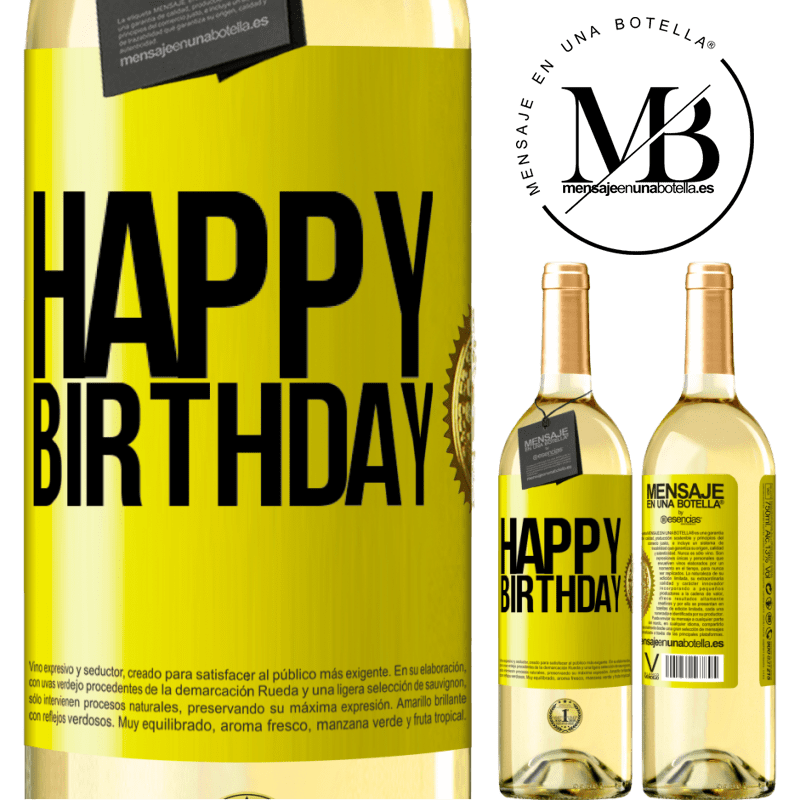 24,95 € Free Shipping | White Wine WHITE Edition Happy birthday Yellow Label. Customizable label Young wine Harvest 2020 Verdejo