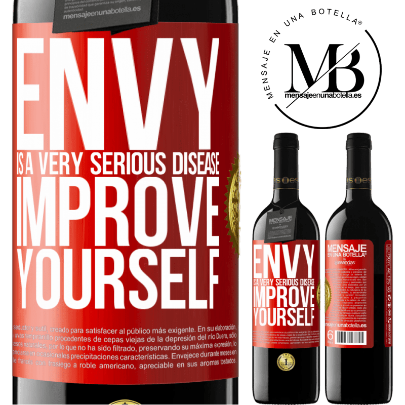 24,95 € Free Shipping | Red Wine RED Edition Crianza 6 Months Envy is a very serious disease, improve yourself Red Label. Customizable label Aging in oak barrels 6 Months Harvest 2018 Tempranillo