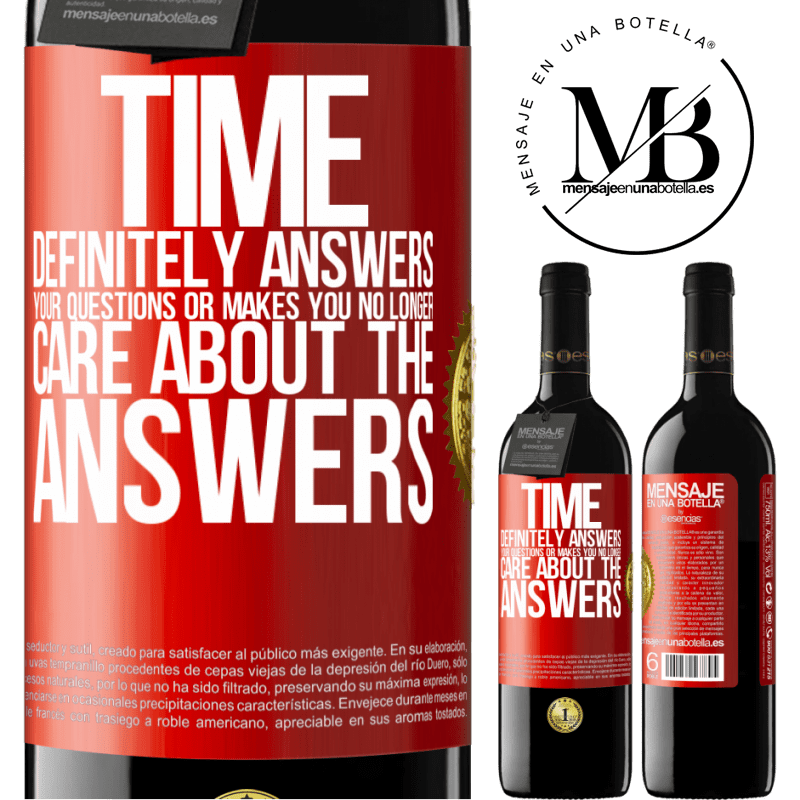 24,95 € Free Shipping | Red Wine RED Edition Crianza 6 Months Time definitely answers your questions or makes you no longer care about the answers Red Label. Customizable label Aging in oak barrels 6 Months Harvest 2018 Tempranillo