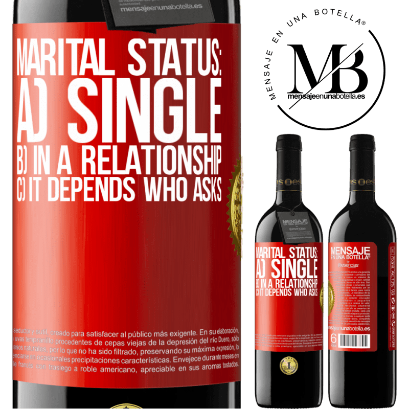 24,95 € Free Shipping | Red Wine RED Edition Crianza 6 Months Marital status: a) Single b) In a relationship c) It depends who asks Red Label. Customizable label Aging in oak barrels 6 Months Harvest 2018 Tempranillo