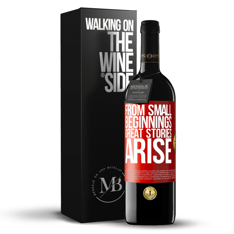 24,95 € Free Shipping | Red Wine RED Edition Crianza 6 Months From small beginnings great stories arise Red Label. Customizable label Aging in oak barrels 6 Months Harvest 2018 Tempranillo