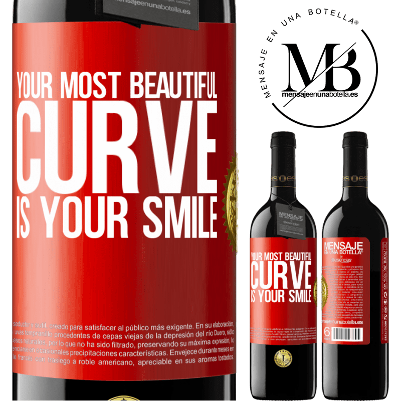 24,95 € Free Shipping   Red Wine RED Edition Crianza 6 Months Your most beautiful curve is your smile Red Label. Customizable label Aging in oak barrels 6 Months Harvest 2018 Tempranillo