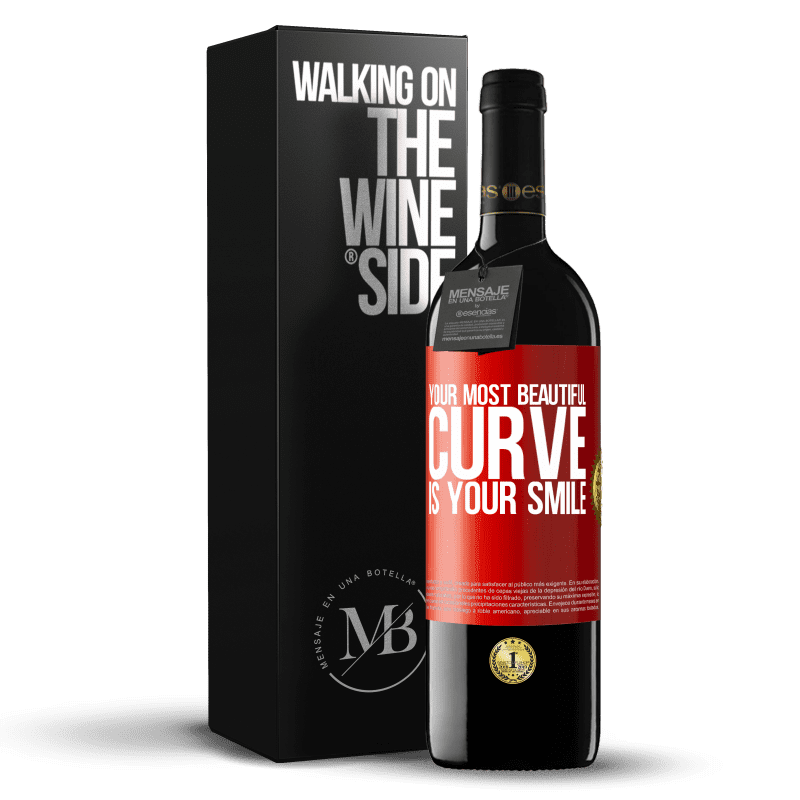 24,95 € Free Shipping | Red Wine RED Edition Crianza 6 Months Your most beautiful curve is your smile Red Label. Customizable label Aging in oak barrels 6 Months Harvest 2018 Tempranillo