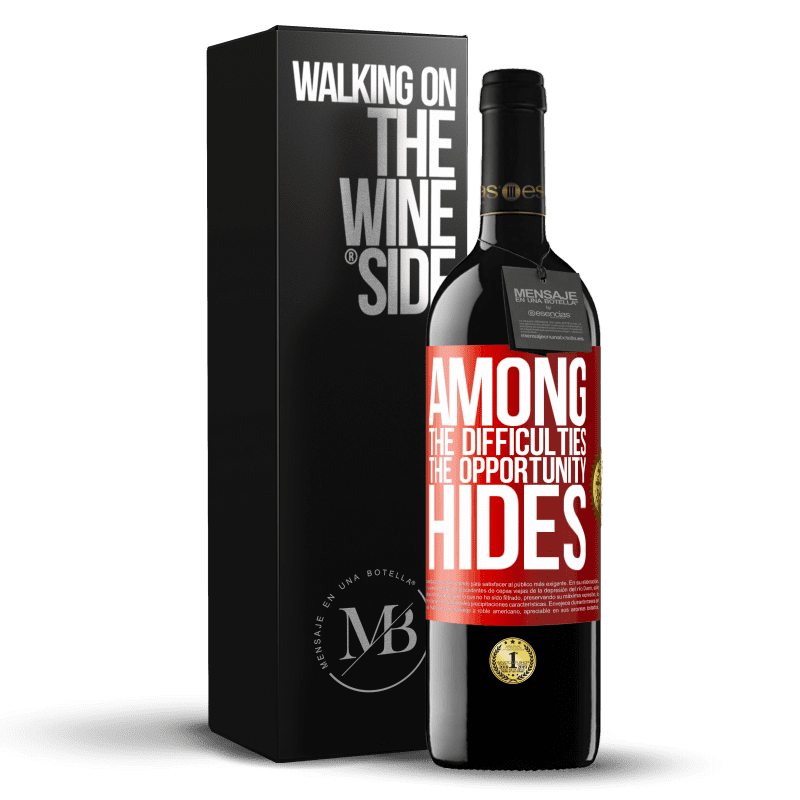 24,95 € Free Shipping | Red Wine RED Edition Crianza 6 Months Among the difficulties the opportunity hides Red Label. Customizable label Aging in oak barrels 6 Months Harvest 2018 Tempranillo