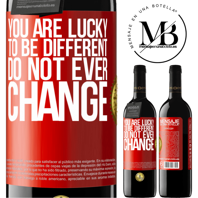 24,95 € Free Shipping | Red Wine RED Edition Crianza 6 Months You are lucky to be different. Do not ever change Red Label. Customizable label Aging in oak barrels 6 Months Harvest 2018 Tempranillo