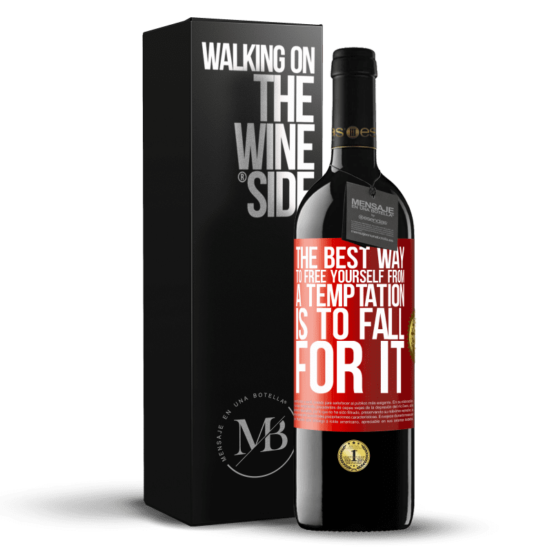 24,95 € Free Shipping | Red Wine RED Edition Crianza 6 Months The best way to free yourself from a temptation is to fall for it Red Label. Customizable label Aging in oak barrels 6 Months Harvest 2018 Tempranillo