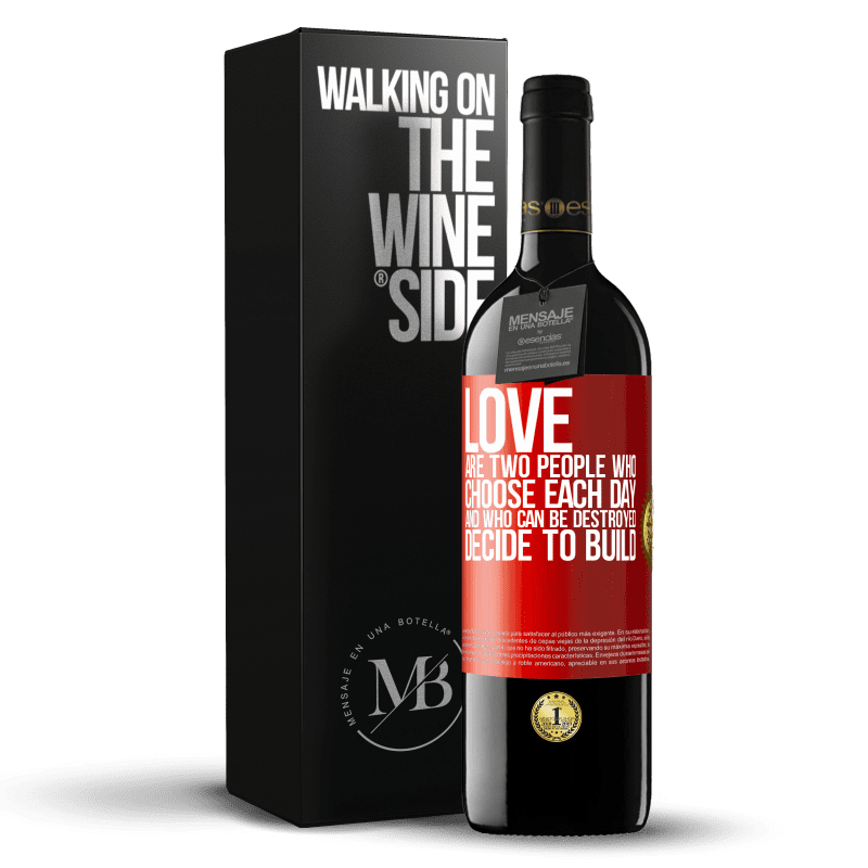 24,95 € Free Shipping   Red Wine RED Edition Crianza 6 Months Love are two people who choose each day, and who can be destroyed, decide to build Red Label. Customizable label Aging in oak barrels 6 Months Harvest 2018 Tempranillo