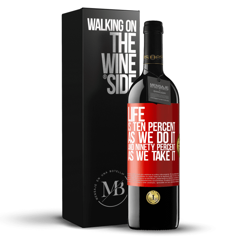 24,95 € Free Shipping | Red Wine RED Edition Crianza 6 Months Life is ten percent as we do it and ninety percent as we take it Red Label. Customizable label Aging in oak barrels 6 Months Harvest 2018 Tempranillo
