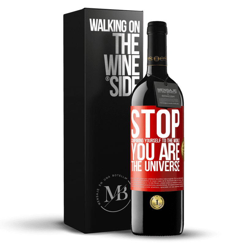 24,95 € Free Shipping | Red Wine RED Edition Crianza 6 Months Stop comparing yourself to the world, you are the universe Red Label. Customizable label Aging in oak barrels 6 Months Harvest 2018 Tempranillo