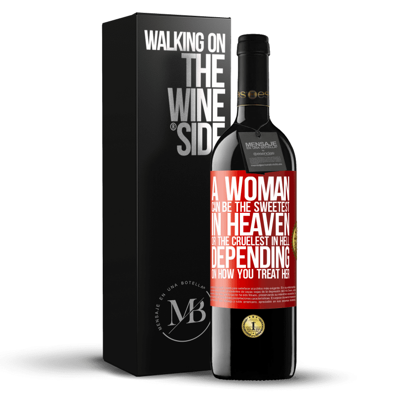 24,95 € Free Shipping | Red Wine RED Edition Crianza 6 Months A woman can be the sweetest in heaven, or the cruelest in hell, depending on how you treat her Red Label. Customizable label Aging in oak barrels 6 Months Harvest 2018 Tempranillo