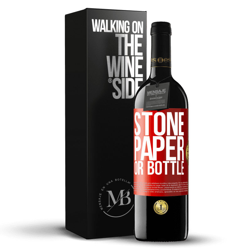 24,95 € Free Shipping | Red Wine RED Edition Crianza 6 Months Stone, paper or bottle Red Label. Customizable label Aging in oak barrels 6 Months Harvest 2018 Tempranillo