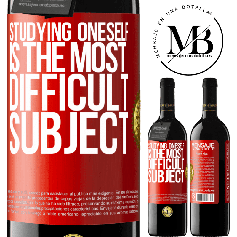 24,95 € Free Shipping | Red Wine RED Edition Crianza 6 Months Studying oneself is the most difficult subject Red Label. Customizable label Aging in oak barrels 6 Months Harvest 2018 Tempranillo