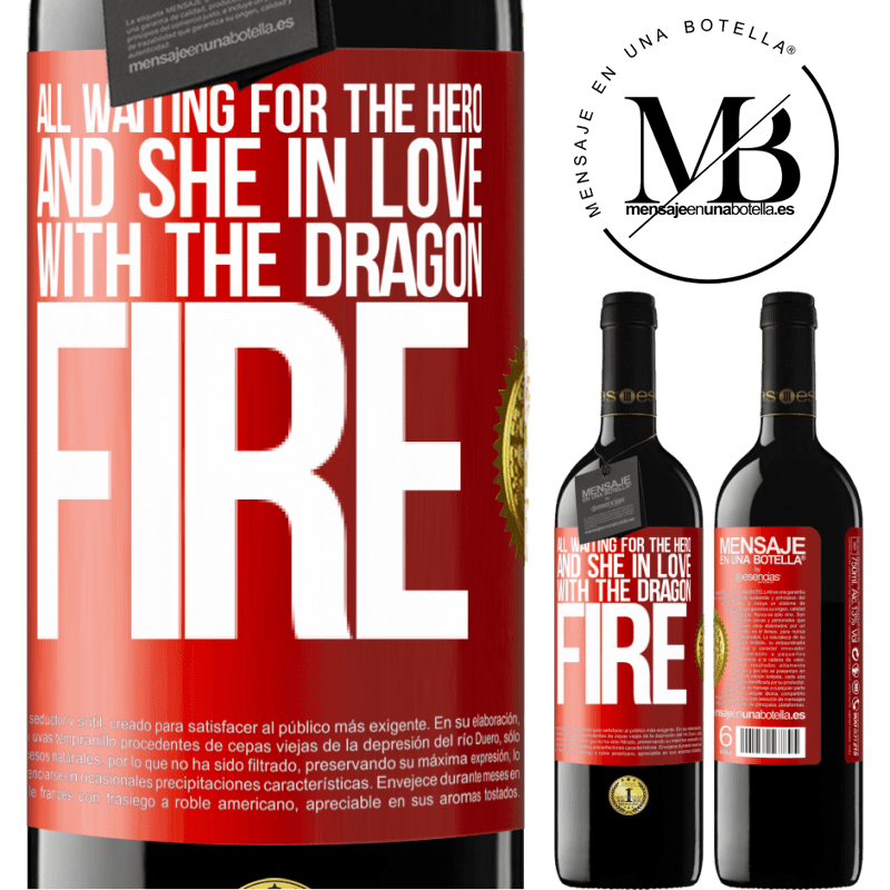 24,95 € Free Shipping | Red Wine RED Edition Crianza 6 Months All waiting for the hero and she in love with the dragon fire Red Label. Customizable label Aging in oak barrels 6 Months Harvest 2018 Tempranillo
