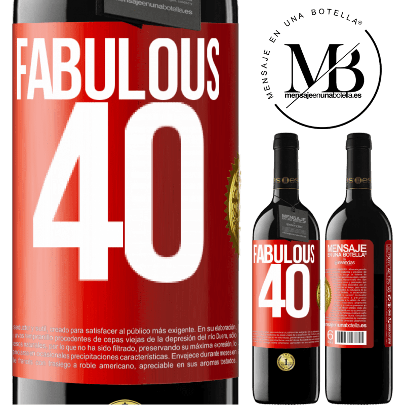 24,95 € Free Shipping | Red Wine RED Edition Crianza 6 Months Fabulous 40 Red Label. Customizable label Aging in oak barrels 6 Months Harvest 2018 Tempranillo