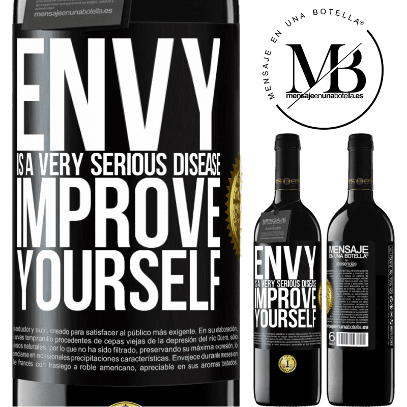 24,95 € Free Shipping | Red Wine RED Edition Crianza 6 Months Envy is a very serious disease, improve yourself Black Label. Customizable label Aging in oak barrels 6 Months Harvest 2018 Tempranillo